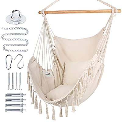 WBHome Extra Large Hammock Chair Swing with Har...