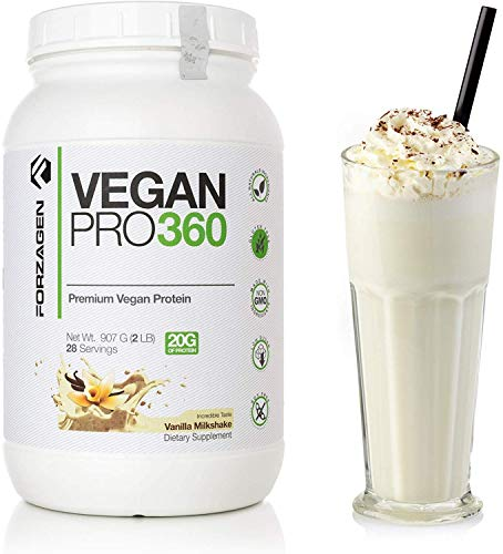 Forzagen Vegan Protein Powder Organic - Dairy Free Protein Powders | Organic Plant Based Protein Powder | Extracted from Quinoa Brown Rice Pea Protein | Perfect Vegan Meal Replacement Vanilla
