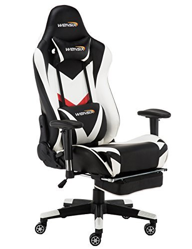 WENSIX Gaming Chair Ergonomic Racing Style Swivel High-Back Computer Desk Chair PC Chair Adjustable Footrest with Lumbar Support and Headrest Pillow (White-02)