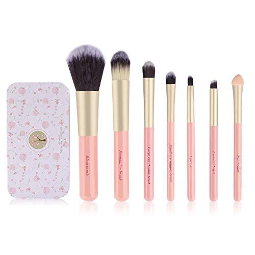 Make-up-Pinsel-Set für Kinder, 7-teilig, für Grundierung, Augenbrauen, Eyeliner, Kosmetikpinsel, Concealer-Pinsel mit Etui für Kinder, Mädchen, Reisen (Rosa)