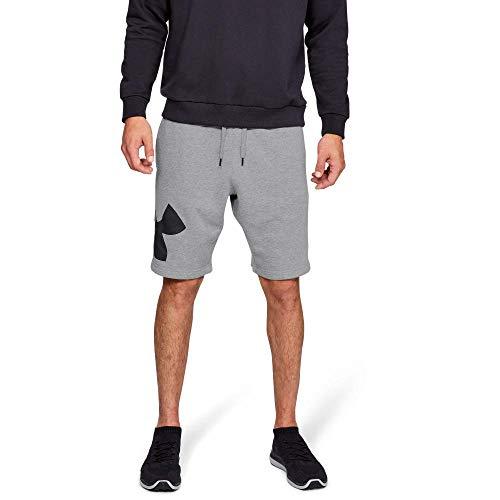 Under Armour Rival Fleece Logo Pantalones Cortos para Hombre, cómodos y robustos Pantalones para Correr, Ancho pantalón Corto con Bolsillos Laterales, Steel Light Heather/Black (035), XL