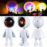 Projection Rainbow Sunset Desk Light 2021 New Robot Atmosphere Lamp Video Shooting Lamp Bar Party Creative Background Wall Decoration Floor Lamps Romantic Fill Light (Orange Wireless)