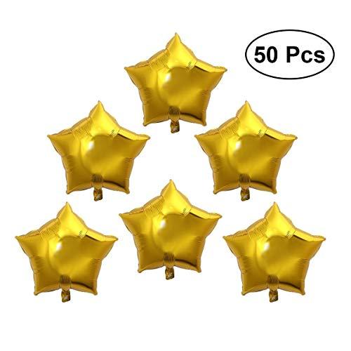 Palloncini Decorazioni per Feste Palloncino foil a stella a cinque punte 50 pezzi Palloncini oro da 10 pollici for la decorazione della festa di compleanno di nozze Compleanno Matrimoni Accessori per