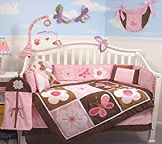 SoHo Pink and Brown Sweetie Garden Baby Crib Nursery Bedding Set 13 pcs Included Diaper Bag
