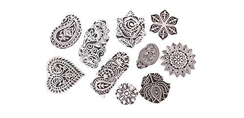 PUSHPACRAFTS Handgemacht Motif Mandala und Runden Holz Blöcke Stempel Stempel Blockprinting Hand Geschnitzt Textildruckblock Paisley (Set von 10)
