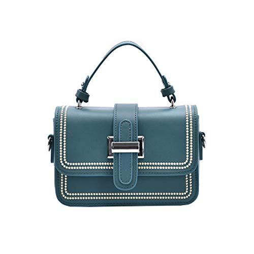 Sbuenam Bolso bandolera para mujer-bolso de cuero pu-elegante bolso diagonal-exquisito bolso pequeño-bolso para cenar-bolso superior (azul, 19 * 13 * 6cm)