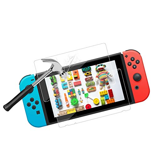 【2 Stücke】Schutzfolie für Nintendo Switch, Schutzglas Folie Displayschutzfolie, [9H Härte], [Anti- Kratzer], [Bläschenfrei], [2.5D Runde Kante], [HD Klar], Panzerglas für Nintendo Switch