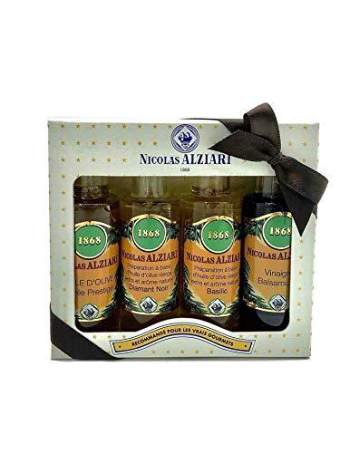 Geschenkset Essig & Öl aus Nizza, 4 x 25ml, Olivenöl, Basilikumöl, Trüffelöl, Balsamico