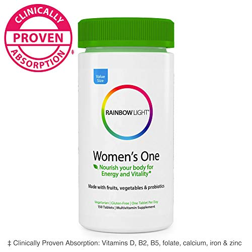 Rainbow Light® Women's One Multivitamin, Supports Immune Health*, Clinically Proven Absorption of 7 Key Nutrients, Once-Daily High Potency Multivitamin, Non-GMO Vegetarian & Gluten Free, 150 Tablet