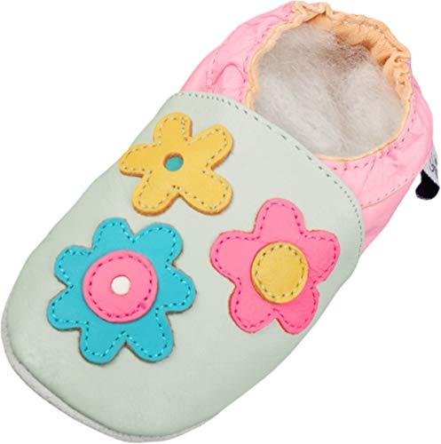 Lappade Zapatillas de Cuero Pantuflas Zapatos de Gateo Bebé con Wildledersohle Gr.19-31 Flor Bunt-Mint Art.115 - Más Colores, 25/26 EU