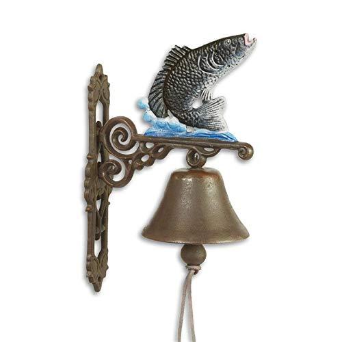 Moritz Türglocke Glocke Fisch Gusseisen Antik Stil mit Fischmotiv Retro Klingel Wand Montage