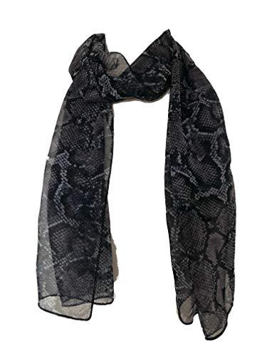 Pamper Yourself Now Schwarz/Weiss Schlange Haut dünne Chiffon Druckformat Schal ziemlich groß für jedes Outfit (Black/Lilac Snake Skin Print Thin Chiffon)