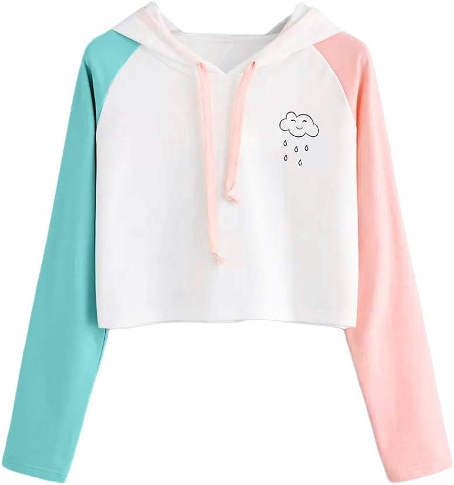 POTO Pullover Sweatshirts for Women,Women's Long Sleeve Casual Shirts Patchwork Pullover Sweatshirt Crop Top Hoodies