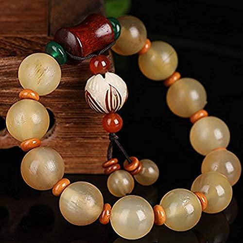 Cuentas de Pulseras, Pulsera de la Riqueza de Cuerno de Antílope Calabaza Jade Blanco Bodhi Raíz Lotus Rosewood Bamboo Pulsera Brazalete elástico Tallado a Mano Mantra Bead Amuleto