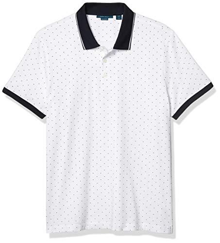Perry Ellis Men's Pima Cotton Arrow Print Short Sleeve Polo Shirt, Bright White, Large