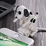 Funny Humping Dog Fast Charger Cable, Funny Dog USB Drive for Phone and Tablet, Creative Automatically Swing Buttocks When Charging, Stray Dog Charging Cable for Apple and Android (White-iPhone)