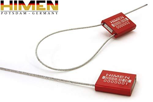 50x PLOMBEN aus Metall mit Drahtseil von HIMEN | fortlaufend nummeriert | mit BARCODE | Länge 280 mm | ACS-1.5F | Seals | red
