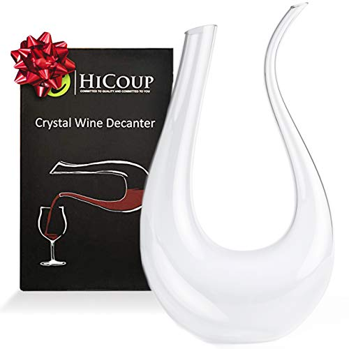 Wine Decanter by HiCoup – 100% Lead-Free Crystal Glass, Hand-Blown Red Wine Decanter/Carafe, Provides Intense Aerating in a Stunning U Shape Design