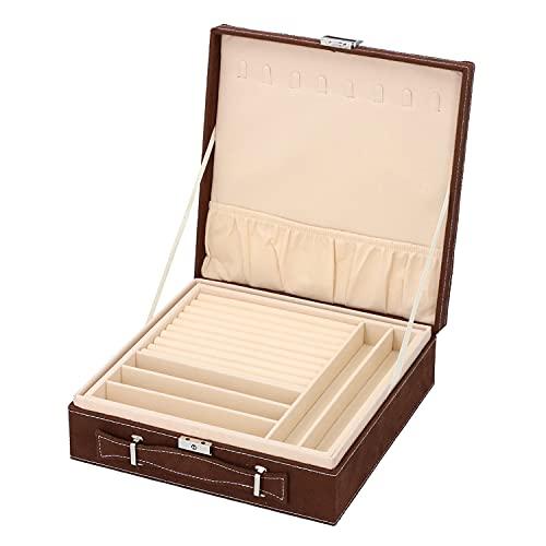 Caja organizadora de joyas de 2 niveles de terciopelo marrón con interior antideslustre y protección contra arañazos, aproximadamente 60 anillos