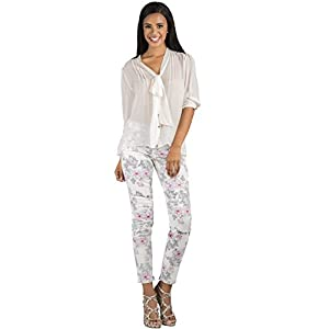 Women's Twill White Rose Print Skinny Ankle Jeans