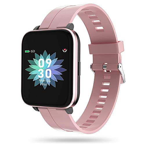 GOOWJUER Smart Watch, Fitness Trackers, Full Touch Screen Fitness Watch with Heart Rate Monitor, Waterproof Smart Fitness Watch with Step Counter, Sleep Tracker for Men and Women(Pink)