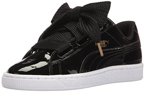 PUMA Women's Basket Heart Patent WN's Sneaker, Black, 8 M US