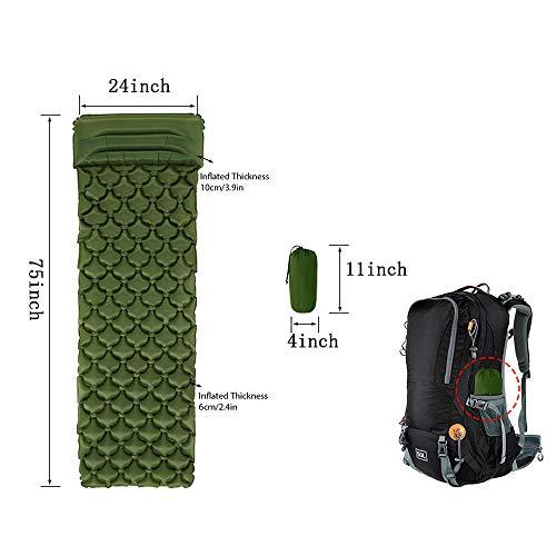 Tapis de Couchage Gonflable avec Coussin d'air Confortable Léger Et Compact Très Adapté pour La Randonnée Voyage Sac à Dos-Vert