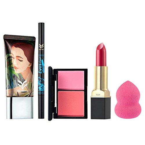 SM SunniMix Set De Maquillage Complet 5pcs / Set Fond De Teint Liquide Pour Maquillage, Crème Correcteur, Crayon Crayon à Paupières Et Crayon à Sourcils 2 En 1, (