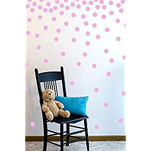The Open Canvas Wall Decal Dots (200 Decals) | Easy to Peel Easy to Stick + Safe on Painted Walls | Removable Vinyl Polka Dot Decor | Round Sticker Large Paper Sheet Set for Nursery Room (Soft Pink)