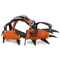 アイスステープルズブート靴アイスグリッパーアンチスキッドアイススパイク冬の雪の牽引クリートクライミング用品 トレッキング 簡単装着男女兼用 (Color : 12 Teeth)