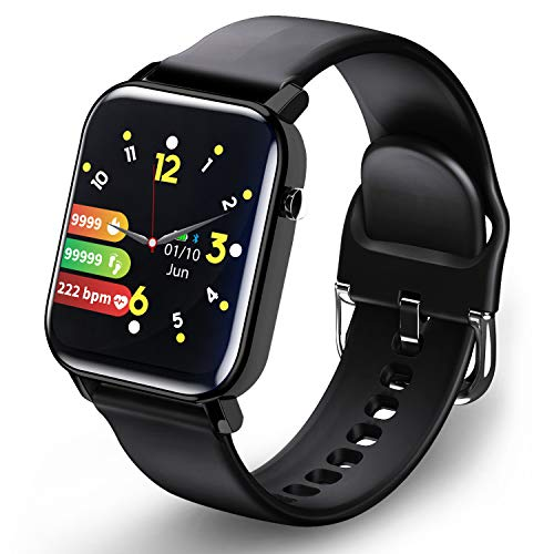 Smartwatch, Fitnessuhr Fitness Tracker 1.4 Voller Touch Screen Smart Watch IP68 Wasserdicht Fitness Uhr mit Pulsuhr Schrittzähler Damen Herren Kinder Armbanduhr Pulsmesser Sportuhr für iOS Android
