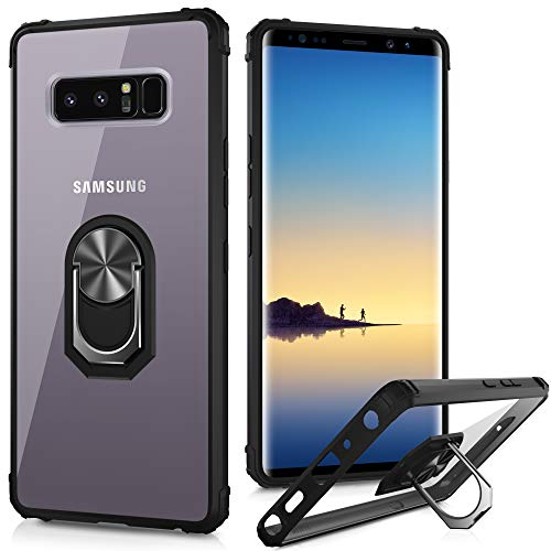 LUMARKE Galaxy Note 8 Case,Pass 16ft Drop Test Military Grade Crystal Clear Cover with Magnetic Kickstand Compatible with Car Mount Holder,Protective Phone Case for Samsung Galaxy Note 8 Black