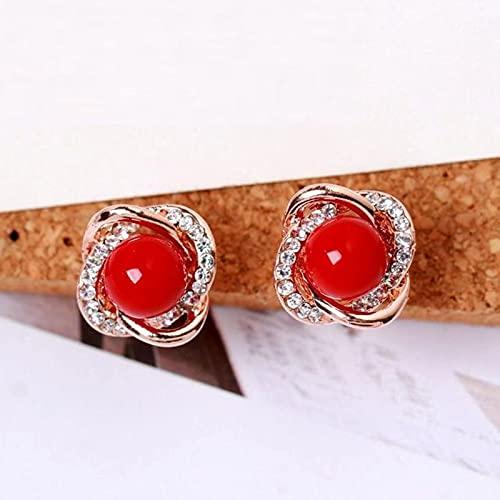 MQJ Joyería de Moda Simulada Perla Rhinestone Clip en Pendientes Lindos Pendientes para Mujeres Brillante Cristal Boda Ear Clip Joyería,Rojo