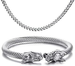 Vnox Bracciale da uomo in cavo di acciaio inox, con teste di drago opposte, stile vichingo