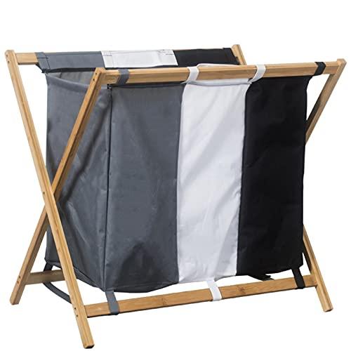 BEDSETS Organizador de ropa sucio con marco de aluminio, plegable, perfecto para dormitorio, baño, sala de estar, multicolor (color madera)