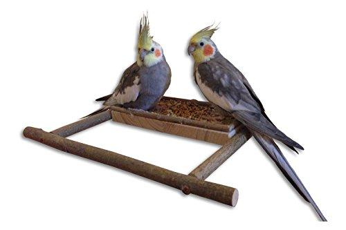 Handgemachtes Sitzbrett mit Naturholz - Anflugstange | Wellensittich Zubehör für die Voliere oder den Vogelkäfig