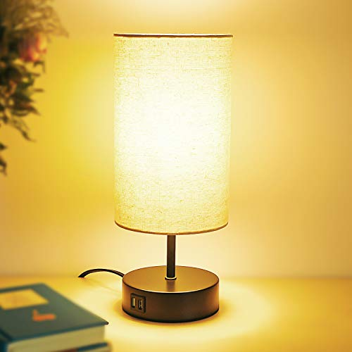 Touch Control Table Lamp with 2 USB Charging Ports,AC Outlet,60W LED Bulb...