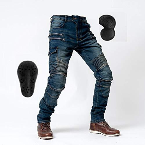 YXYECEIPENO Pantalones De Moto Todoterreno Vaqueros De Moto Cuatro Estaciones con Equipo De Protección Desmontable Protege Rodillas Y Caderas Adecuado para Hombres Y Mujeres (S = 28, 3 Colores