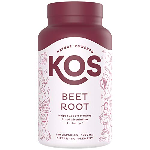 KOS Organic Beet Root Capsules 1500mg - Natural Nitric Oxide Booster Superfood Powder - Supports Healthy Circulation, Lower Blood Pressure, Energy Levels - 180 Capsules