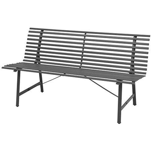 Gartenbank Sitzbank Gartenmöbel Parkbank | 3 Sitzer Stahlrahmen 150 x 62 x 80 cm Anthrazit | Garten Bank Balkonbank | Wetterfest, pflegeleicht und Zeitloses Aussehen
