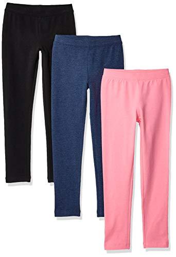 Amazon Essentials Girls' 3-Pack leggings-pants, Black Beauty/Pink/Navy Heather, M (8)