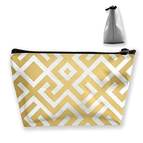 Leichte Mehrzweck-Trapez-Aufbewahrungstasche Clutch Travel Makeup Bag Kosmetiktasche Kulturbeutel Organizer-Tasche Geldbörse Geometrische Goldbarren Gedruckt