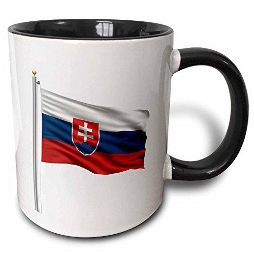 3dRose Tasse 157266_ 4Flagge der Slowakei auf eine Flagge Pole über weiß Slowakische zweifarbig schwarz Tasse, 11Oz, schwarz/weiß