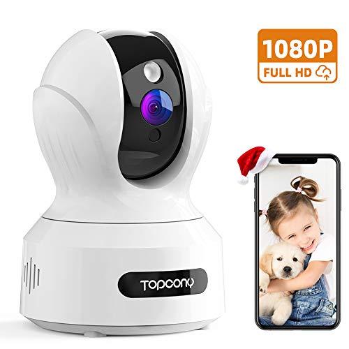 Topcony Camara Vigilancia WiFi, 1080P HD Innovadora Cámara IP Vigilabebés, Mascotas con Visión Nocturna Detección de Movimiento Intercomunicación, Compatible con Alexa