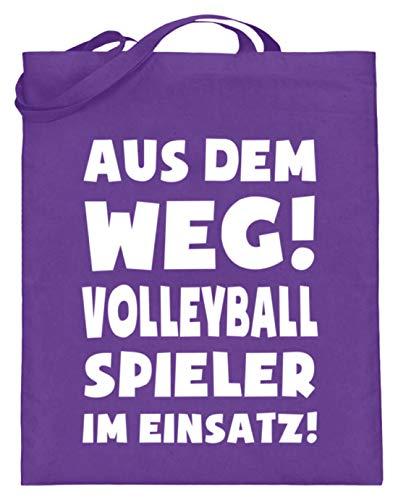 shirt-o-magic Volleyball: Volleyballspieler im Einsatz! - Jutebeutel (mit langen Henkeln) -38cm-42cm-Violett