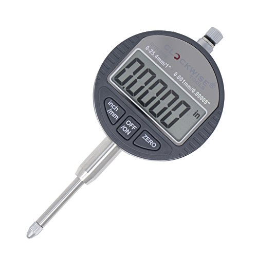 Clockwise Tools DITR-0105 Electronic Digital Dial Indicator Gage Gauge Inch/Metric Conversion 0-1 Inch/25.4 mm 0.00005 Inch/0.001mm Resolution with Back Lug Auto Off Featured Measuring Tool