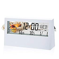 ODAHIS Alarm Clock with Transparent LCD, Battery Operated Weather Alarm Clock, Small Digital Alarm Clock, Date, Weather, Temperature and Humidity Display, Simple Operation (White)