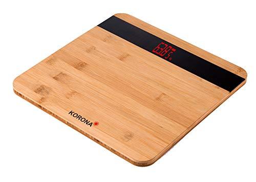 Korona 74560 Madera elektronische Personenwaage Bambus | digital 180 kg Tragkraft | 100 Gramm Einteilung | Holz Optik