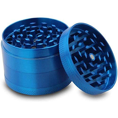 DFBGL Molinillo de Hierbas de aleación de Zinc con Tapa magnética, Filtro de Polen y raspador de Polen, 4 Piezas (Color: Azul)