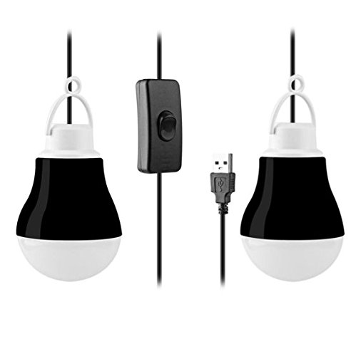 "[2-Pack] KOBRA USB LED Light Bulbs For Camping, Emergency, And Night Light - 5W 40"" Wire (Black)"